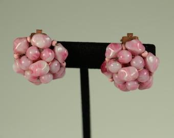 Pink Beaded Cluster Earrings