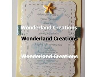 Seashell Bridal Shower Invitation with envelope