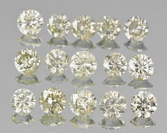 2.64 Cts/15 Pcs Lot - 3.5mm Rounds Untreated Light Champagne Diamonds