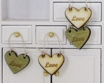 Shabby Chic Heart Etched Wood