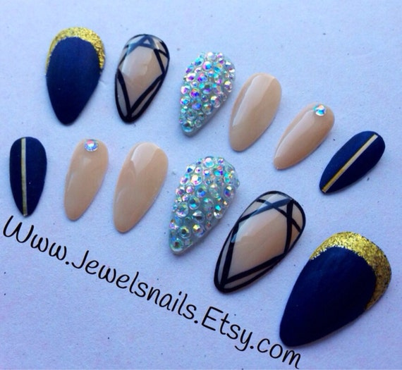Stiletto Nail Art With Diamonds: Stiletto/Almond Matte Nails Diamonds And By JEWELSNAILS On