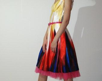 Yellow satin, pleated dress