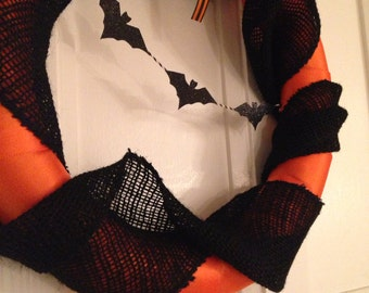 Orange and Black Halloween Wreath with Bats