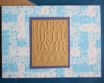 Happy Birthday - woven design / handmade card to write inside
