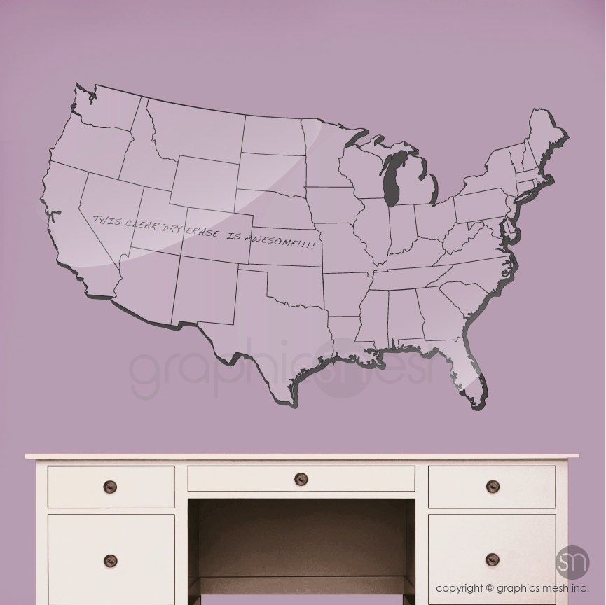 USA MAP Dry Erase wall decal Erasable surface wall decals by