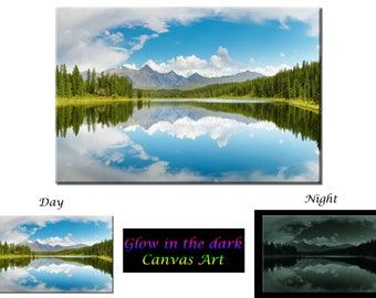 Glow in the Dark Canvas Art - Nature Forest Mountain Lake - Ready to Hang