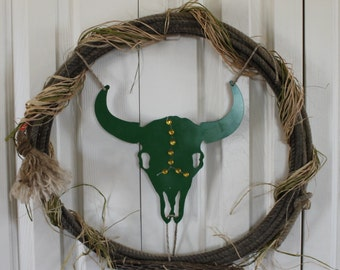 Western rope wreath.  Metal cow skull wreath. Western metal cow skull and rope wreath. Rustic raffia, bling, rodeo rope decor.