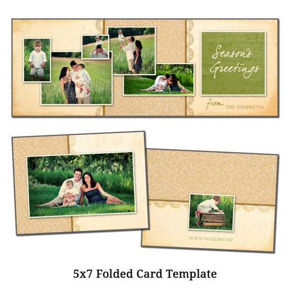 Items similar to 5x7 folded christmas card template for 5x7 postcard mailing template