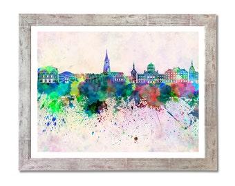 Bern skyline in watercolor background - SKU 0056