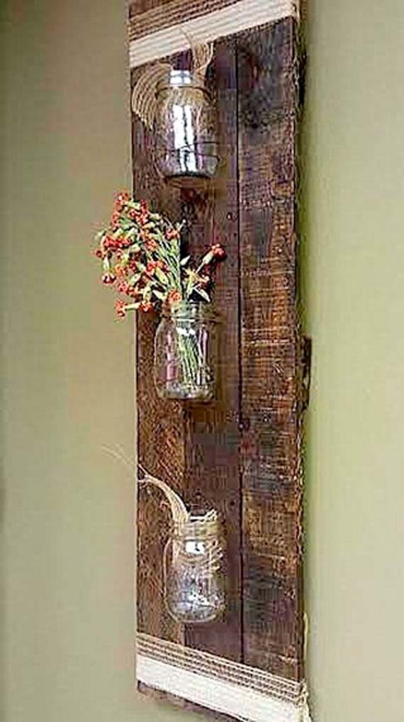 Rustic Pallet Wood Mason Jar Storage Wall Hanging By