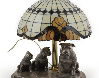 American Staffordshire Terrier, dog lamp statue, tiffany shade, limited edition, ArtDog