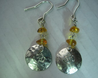 Amber, crystal and sterling silver earrings with Om symbol.