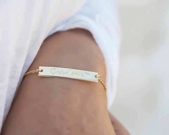 Dainty Gold Nameplate Bracelet/Gold Bar Bracelet/Personalized Bracelet