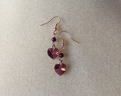 Purple pearl and crystal heart rose gold earrings