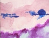Nursery Decor Watercolor Abstract Painting in Purple and Pink - Home Decor Landscape Art for Girls Room Storm Build-up - ORIGINAL art