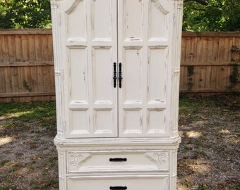 SOLD: Heirloom White Shabby Chic Armoire
