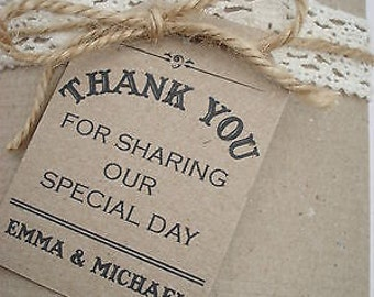 16 Vintage/Rustic/ Shabby Chic 'Thank you for sharing our Special Day' wedding favour tags