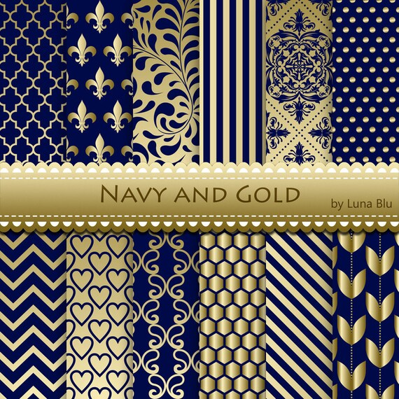 navy and gold digital paper  navy and gold by lunabludesign