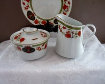 "LiLing Yung Shen ""CAKARA"" Jade Tree Orange Flower Medallions Sugar Bowl & Creamer Set with Gold Trim"