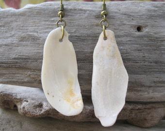 White Shell Dangle Earrings