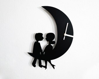 Couple Sitting on the Moon - Wall Clock