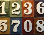 Address number tiles - weatherproof - with without holes 4 3/4'' x 3 1/4'' Glazed with your choice of color.