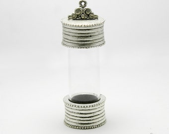Glass Vial Pendant with Threaded Lid,  Antique Silver Plated, Made in the USA, #N115
