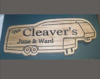 5th Wheel shaped, personalized carved wooden sign