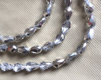 25 Half Silver Coated & Half Clear Faceted Chinese Glass Teardrop Beads