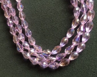 25 Pink AB Faceted Chinese Glass Teardrop Beads