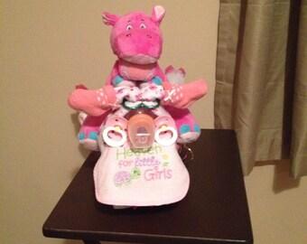 Baby girl motorcycle diaper cake