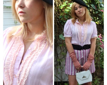 Powder Pink Blouse - VINTAGE Pinup Blouse - Ruffles and Lace - Pinstripe Cotton Shirt - Lolita Costume - Retro Button Up Blouse - Baby Pink