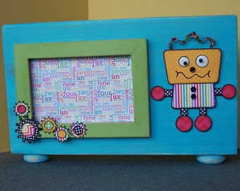 Rigsby the Robot, a Whimsical, Embellished Picture Frame (4 x 6)