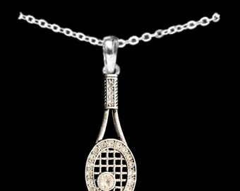 Tennis Racquet Rhinestone Necklace