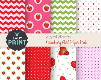 Strawberry Sweet Girl Digital Papers. For Personal and Small Commercial Use.