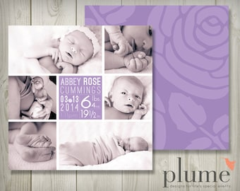 Baby Girl Announcement — Purple Rose Photo Birth Announcement