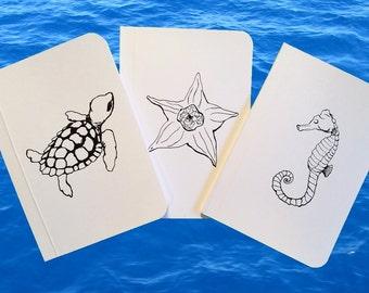 3 Marine Life Illustrated Notebook Set, Pocket Journals, Original Handmade Mini Diaries and Jotters, Blank Paper Notebooks