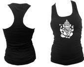 Yoga wear Ganesh Buddhism silk printed black women sleeveless tank top S/M/L/XL