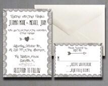 Whimsical Wedding Invitations - Vintage Wedding Invitations - Cool Wedding Invitations - StoryBook Wedding Invitations - Heart And Arrow 5x7