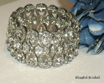 Stretch Crystal Bracelet, Cuff Wedding Bracelet, Bridal Bracelet, Bridal Jewelry, Bracelet For Bride, Wide Rhinestone Bracelet
