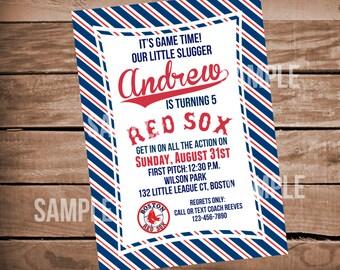 Boston Red Sox Baseball Birthday Invitation