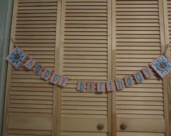 Happy Birthday Ships Wheel Banner, Kids Birthday Banner, Happy Birthday Banner, Kids Banners