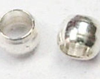 500 pc. 2mm Brass Barrel Crimp Beads, silver (IBC-1019-500)