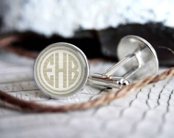 Monogrammed initials personalized cufflinks, cool gifts for men, custom wedding silver plated or black cuff link IN09