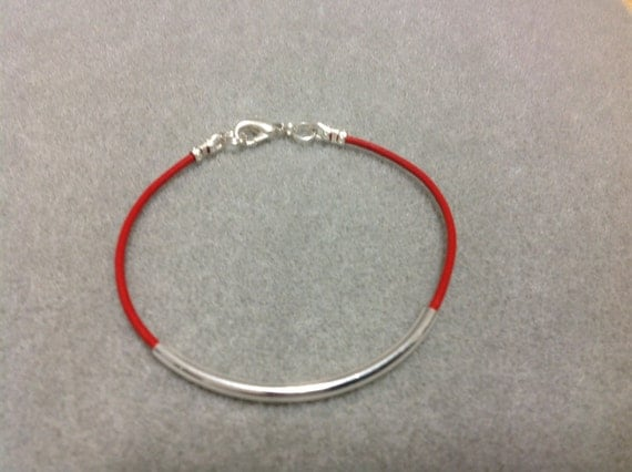 Cuff Bracelet Leather Bangle Boho Chic Trendy Red Focal Tube Bead Silver Plate  CL1539