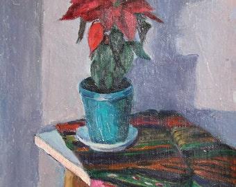 Vintage Still Life Flowers Oil Painting