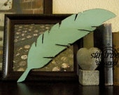 Wooden Feather 18 inch Turquoise Distressed on Brown Stain ANY COLOR Any Number or Letter Distressed or