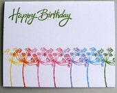 Happy birthday card with colorful flowered stems.