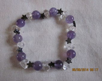 Amethyst and Clear Quartz with stars
