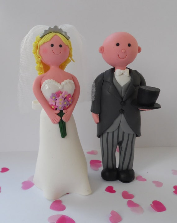 wedding cake toppers blonde bride bald groom items similar to with veil amp bald groom with 26401